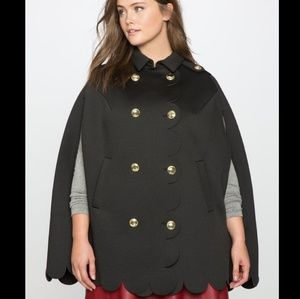 Eloquii | Double Breasted Scallop Cape Coat NWT